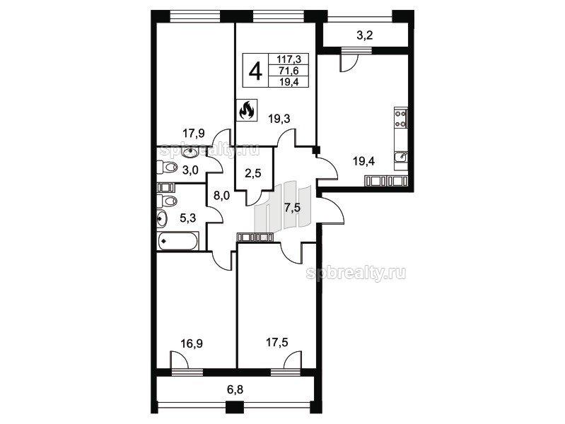 Планировка Четырёхкомнатная квартира площадью 117.3 кв.м в ЖК «Николаевский Ансамбль»