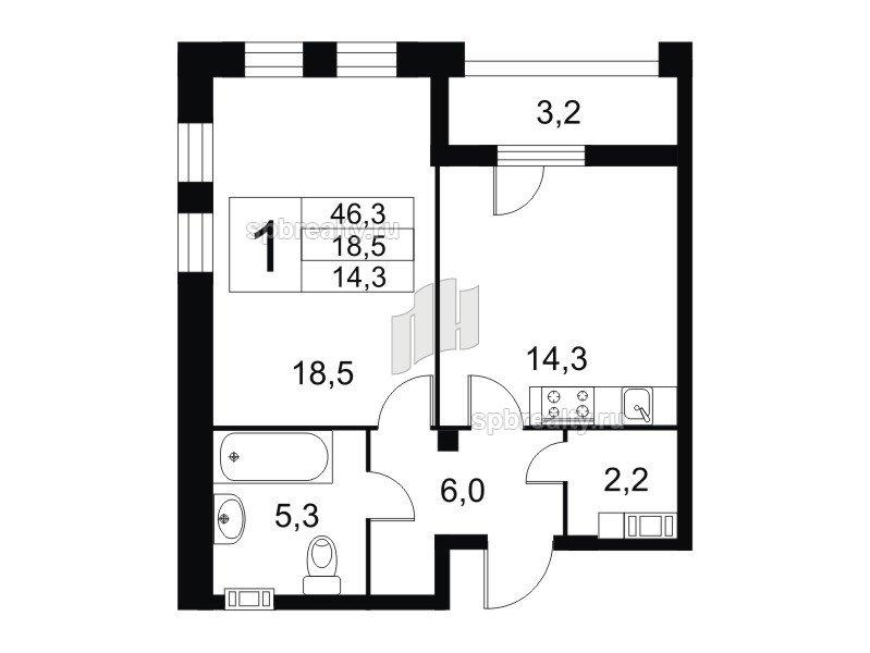 Планировка Однокомнатная квартира площадью 46.6 кв.м в ЖК «Николаевский Ансамбль»