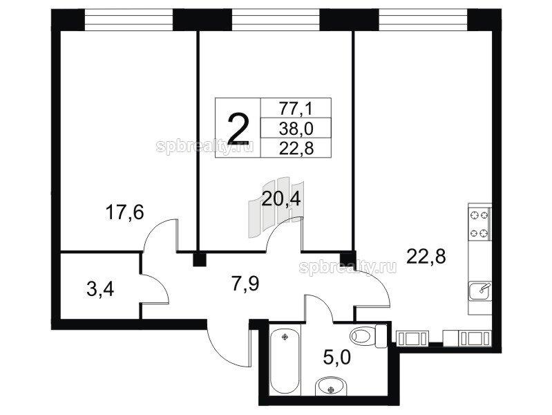 Планировка Двухкомнатная квартира площадью 76.5 кв.м в ЖК «Николаевский Ансамбль»